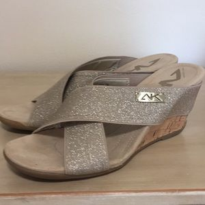 Shoes - Anne Klein Sport Wedges 7 Tan Sparkle